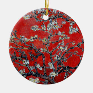 Vincent van Gogh Branches with Almond Blossom Round Ceramic Ornament