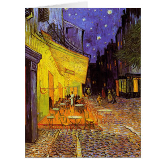 Vincent Van Gogh Cafe Terrace At Night Painting Large Greeting Card
