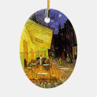 Vincent Van Gogh Cafe Terrace At Night Vintage Art Ceramic Oval Ornament
