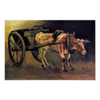 Vincent Van Gogh - Cart With Red And White Ox Poster