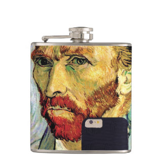 Vincent Van Gogh Cellphone Selfie Self Portrait Hip Flasks