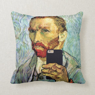 Vincent Van Gogh Cellphone Selfie Self Portrait Throw Pillows