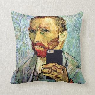 Vincent Van Gogh Cellphone Selfie Self Portrait Throw Pillow