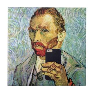 Vincent Van Gogh Cellphone Selfie Self Portrait Small Square Tile