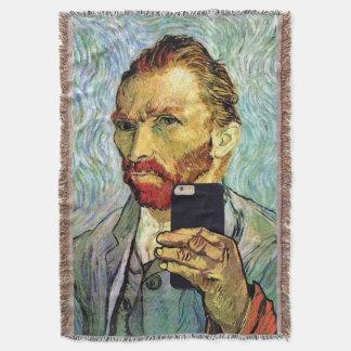 Vincent Van Gogh Cellphone Selfie Self Portrait Throw Blanket