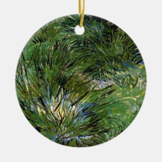 Vincent Van Gogh - Clumps Of Grass Fine Art Round Ceramic Ornament