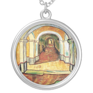 Vincent Van Gogh - Corridor Of Saint Paul Hospital Silver Plated Necklace