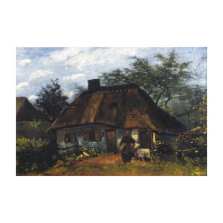 Vincent van Gogh Cottage and Woman with Goat Canvas Print