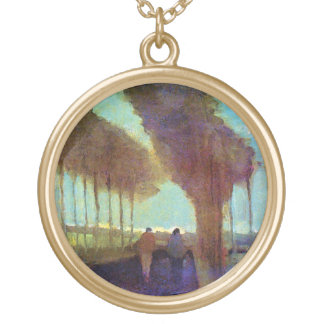 Vincent Van Gogh - Country Lane With Two Figures Gold Plated Necklace