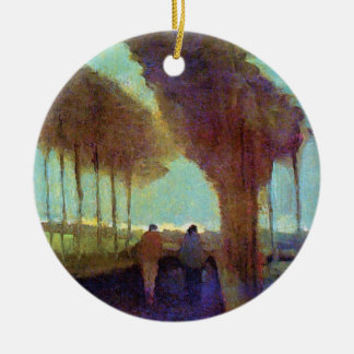 Vincent Van Gogh - Country Lane With Two Figures Round Ceramic Ornament