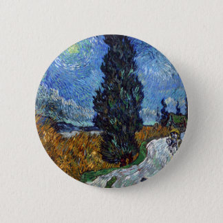 Vincent Van Gogh Country road in Provence by Night 2 Inch Round Button
