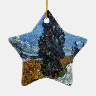 Vincent Van Gogh Country road in Provence by Night Ceramic Ornament