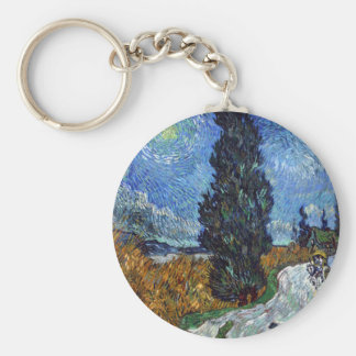 Vincent Van Gogh Country road in Provence by Night Keychain
