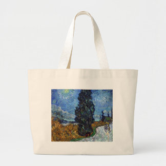 Vincent Van Gogh Country road in Provence by Night Large Tote Bag