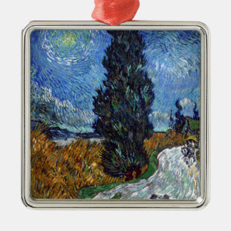 Vincent Van Gogh Country road in Provence by Night Metal Ornament