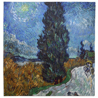 Vincent Van Gogh Country road in Provence by Night Napkin