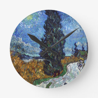 Vincent Van Gogh Country road in Provence by Night Round Clock