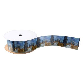 Vincent Van Gogh Country road in Provence by Night Satin Ribbon