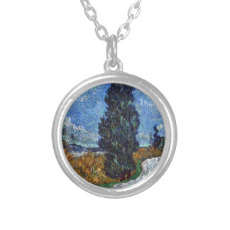 Vincent Van Gogh Country road in Provence by Night Silver Plated Necklace