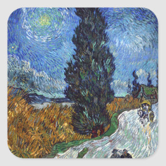 Vincent Van Gogh Country road in Provence by Night Square Sticker