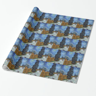 Vincent Van Gogh Country road in Provence by Night Wrapping Paper
