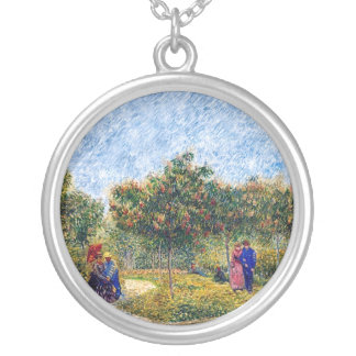 Vincent Van Gogh - Courting Couples In The Park Silver Plated Necklace