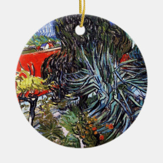 Vincent Van Gogh - Doctor Gachets Garden In Auvers Round Ceramic Ornament