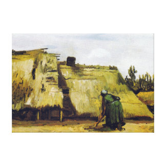 Vincent van Gogh Farmhouse with a Digging Peasant Canvas Print