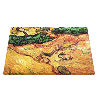 Vincent Van Gogh - Field With Two Rabbits Fine Art Canvas Print