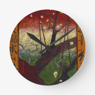Vincent Van Gogh Flowering Plum Tree Art work Round Clock