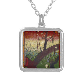 Vincent Van Gogh Flowering Plum Tree Art work Silver Plated Necklace