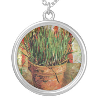 Vincent Van Gogh - Flowerpot With Chives Silver Plated Necklace