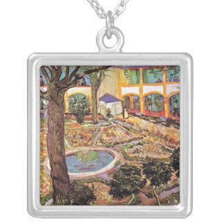 Vincent Van Gogh - Garden Of The Hospital In Arles Silver Plated Necklace