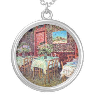 Vincent Van Gogh - Interior Of A Restaurant Silver Plated Necklace