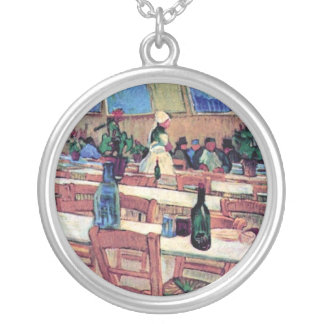 Vincent Van Gogh - Interior Of Restaurant Silver Plated Necklace
