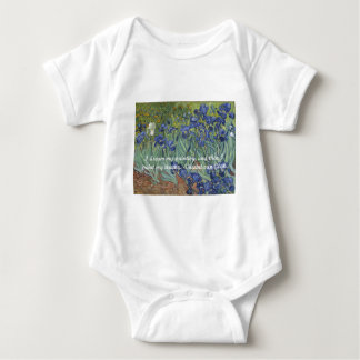Vincent van Gogh Irises & Dream Quote Baby Bodysuit