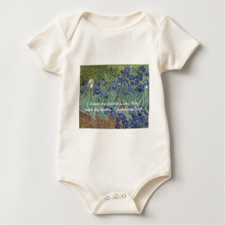 Vincent van Gogh Irises & Dream Quote Baby Bodysuit