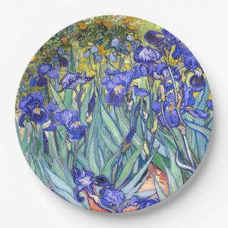Vincent Van Gogh Irises Floral Vintage Fine Art Paper Plate
