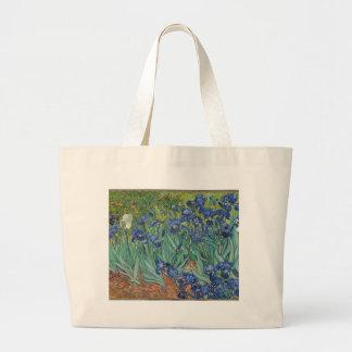Vincent Van Gogh Irises Painting Flowers Art Work Large Tote Bag