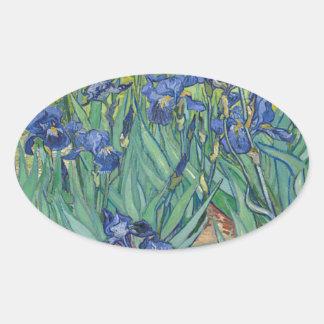 Vincent Van Gogh Irises Painting Flowers Art Work Oval Sticker