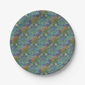 Vincent Van Gogh Irises Painting Flowers Art Work Paper Plate