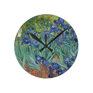 Vincent Van Gogh Irises Painting Flowers Art Work Round Clock