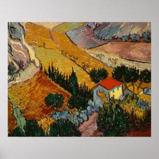 Vincent van Gogh | Landscape w/ House & Ploughman Poster