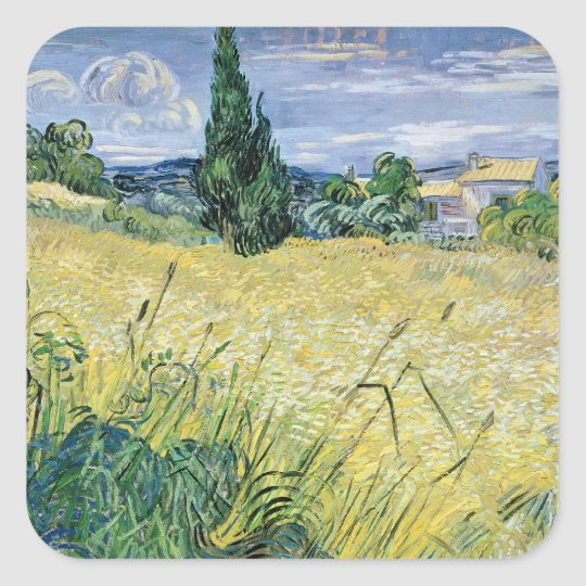 Vincent van Gogh | Landscape with Green Corn, 1889 Square Sticker