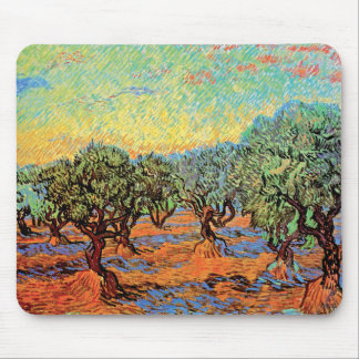 Vincent Van Gogh - Olive Grove with Orange Sky Mouse Pad