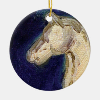 Vincent Van Gogh - Plaster Statuette Of A Horse Round Ceramic Ornament