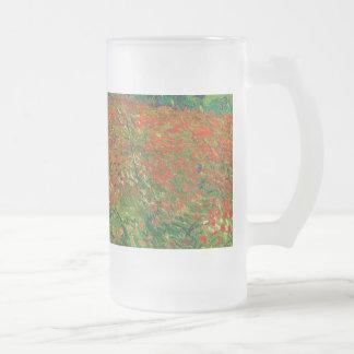 Vincent Van Gogh Poppy Field Floral Vintage Art Frosted Glass Mug