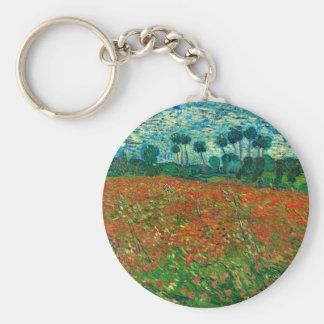 Vincent Van Gogh Poppy Field Floral Vintage Art Keychain