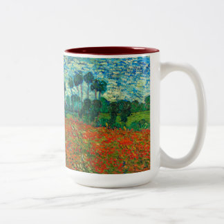 Vincent Van Gogh Poppy Field Floral Vintage Art Two-Tone Mug