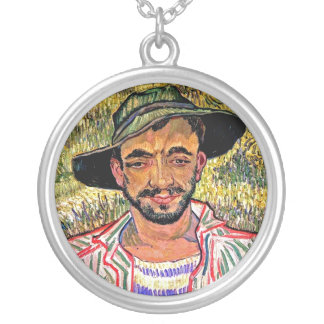 Vincent Van Gogh - Portrait Of A Young Peasant Silver Plated Necklace